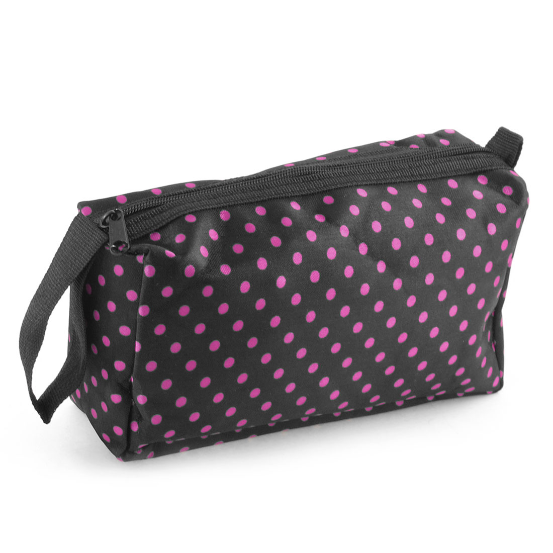 Lady Zippered Fuchsia Dots Pattern Black Cosmetic Pouch Bag w Hand Strap