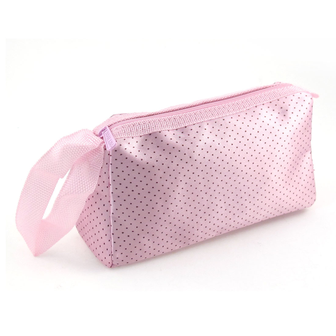Woman Zipper Closure Black Dots Pattern Cosmetic Pouch Bag Pink w Hand Strap