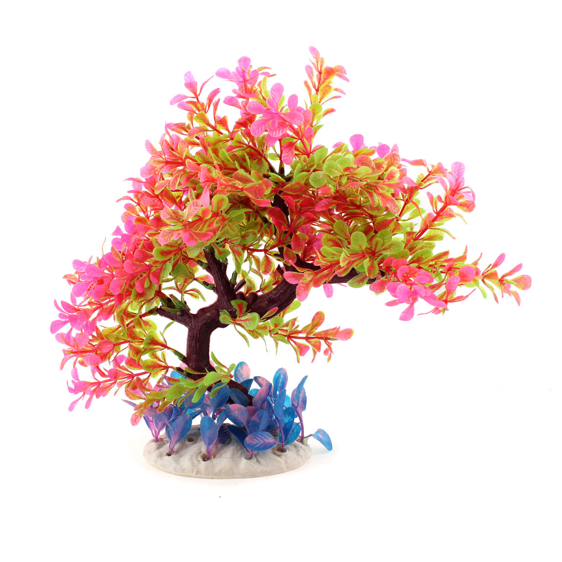 "10.6"" Height Aquarium Decor Fuchsia Green Plastic Aquascaping Plant Tree"