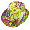 Men Women Summer Outdoors Paisley Print Yellow Fuchsia Fedora Trilby Hat Cap
