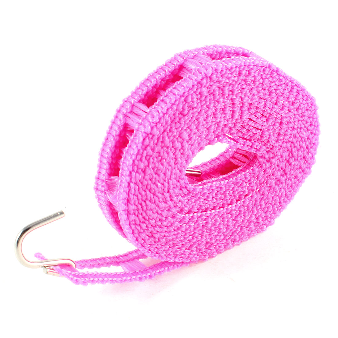 Outdoor Double Metal Hooks Antislip Clothesline Hanging Rope Fuchsia 3.5m