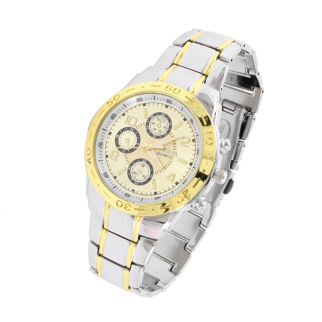 Men Two Tone Adjustable Time Knob Round Dial Arabic Number Wrist Quartz Watch