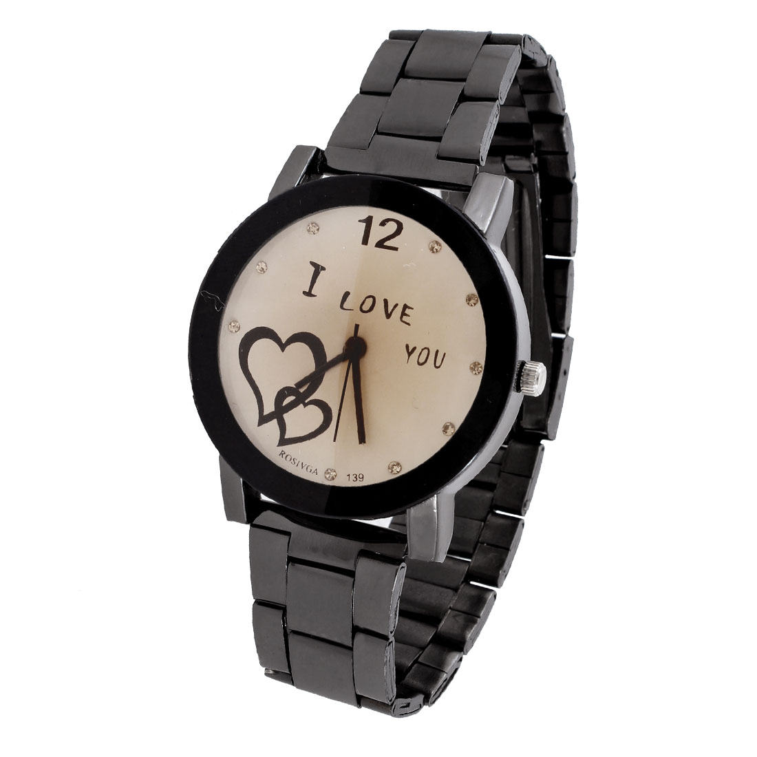 Women Black Stainless Steel Wristband Double Hearts Print Round Dial Quartz Watch