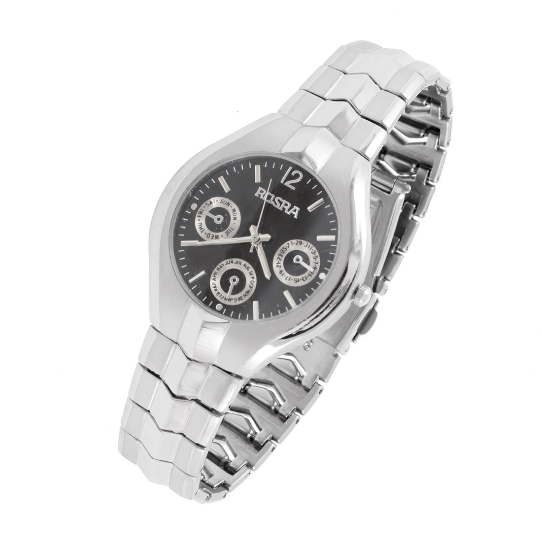 "Silver Tone Gray 0.6"" Width Wristband Round Dial Wrist Quartz Watch for Men"