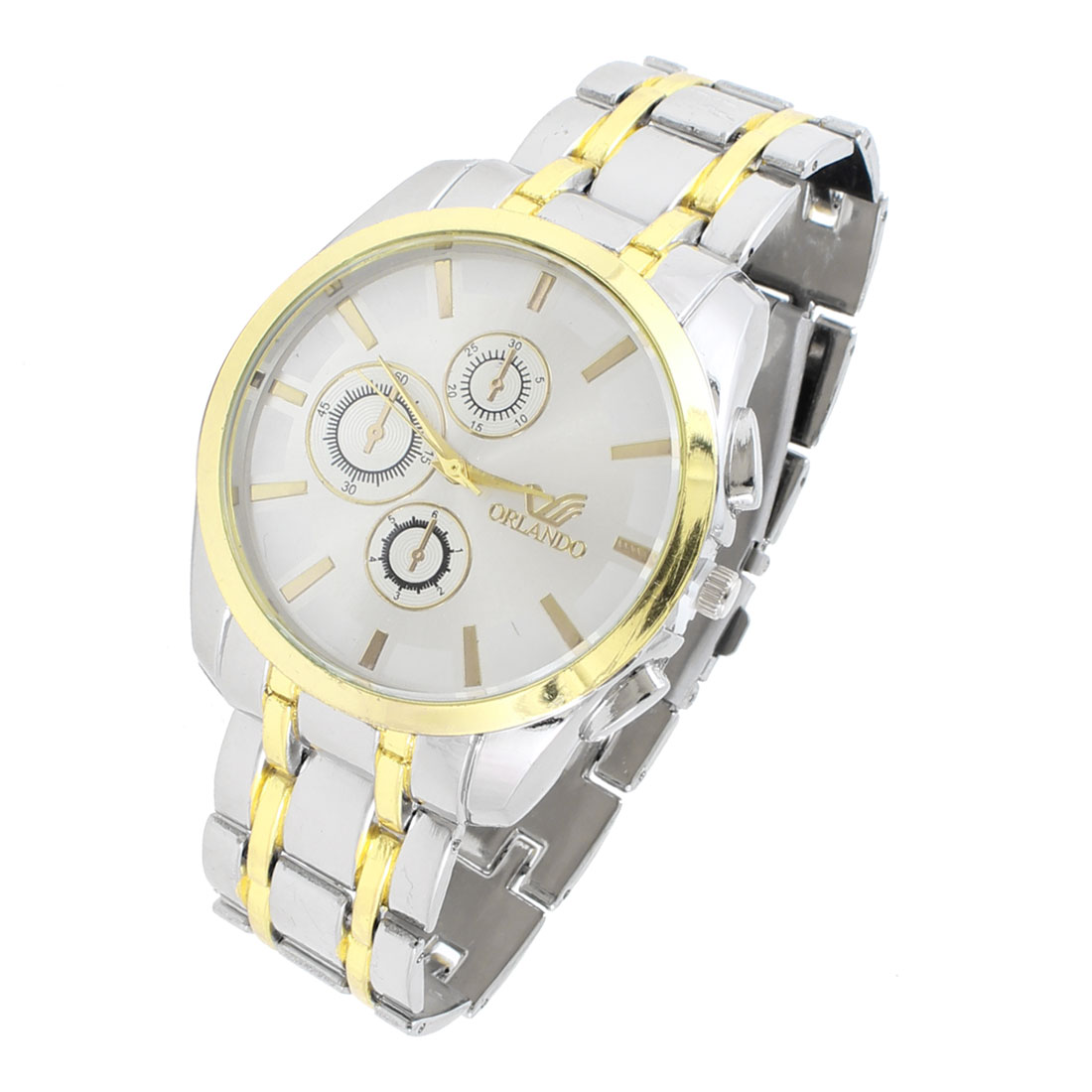 "Silver Tone 0.8"" Wide Wristband Numberless Round Dial Wrist Quartz Watch for Man"