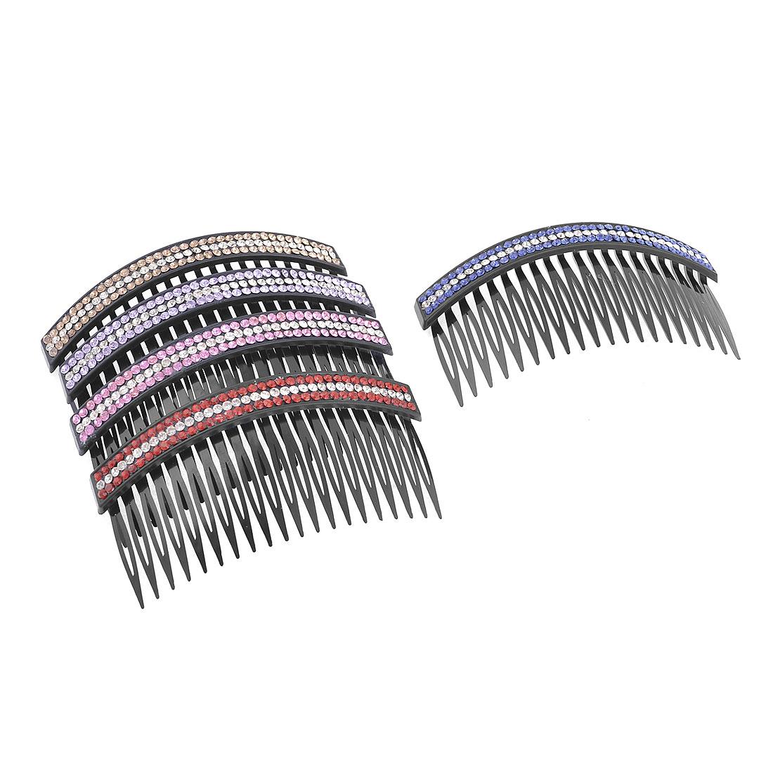 5 Pcs Hair Decorative Colorful Shiny Rhinestones Accent Hair Comb Clip Claw Black