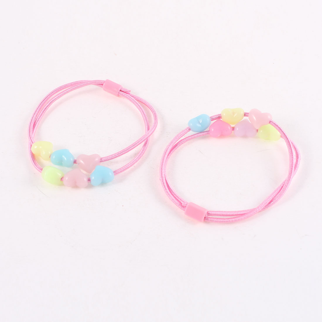 Pair Light Blue Pink Plastic Hearts Detailing Elastic Ponytail Hair Holder