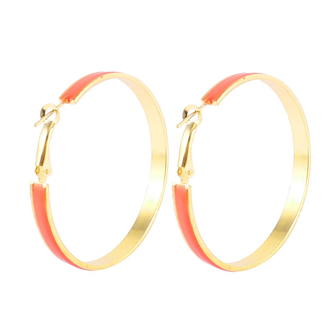Ladies 5CM Dia Metal Hoop Earrings Eardrop Orange Gold Tone Pair