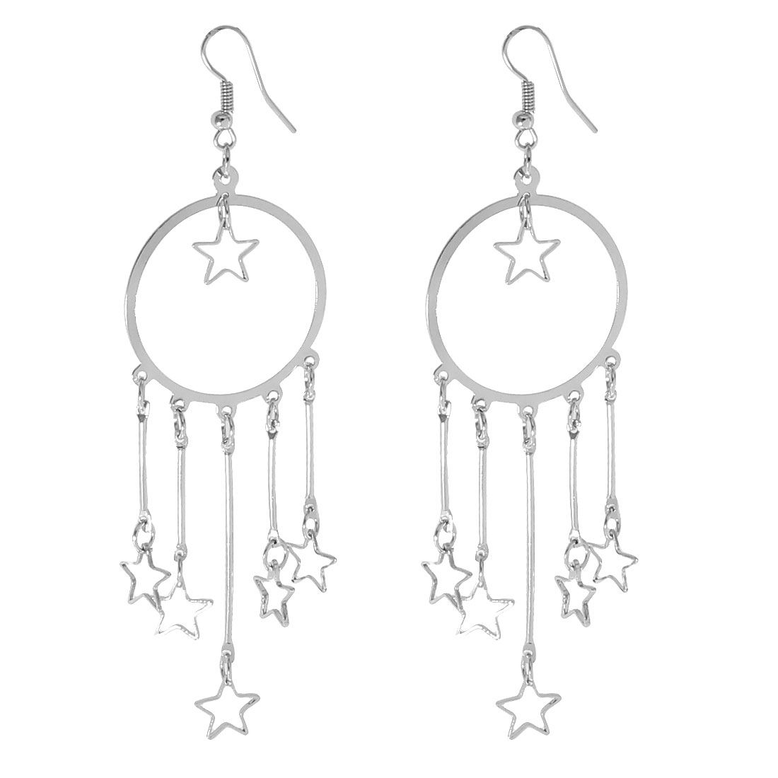 "Sliver Tone Metal Pentagrams Circle Dangling Hook Earrings 4.1"" Long Pair"