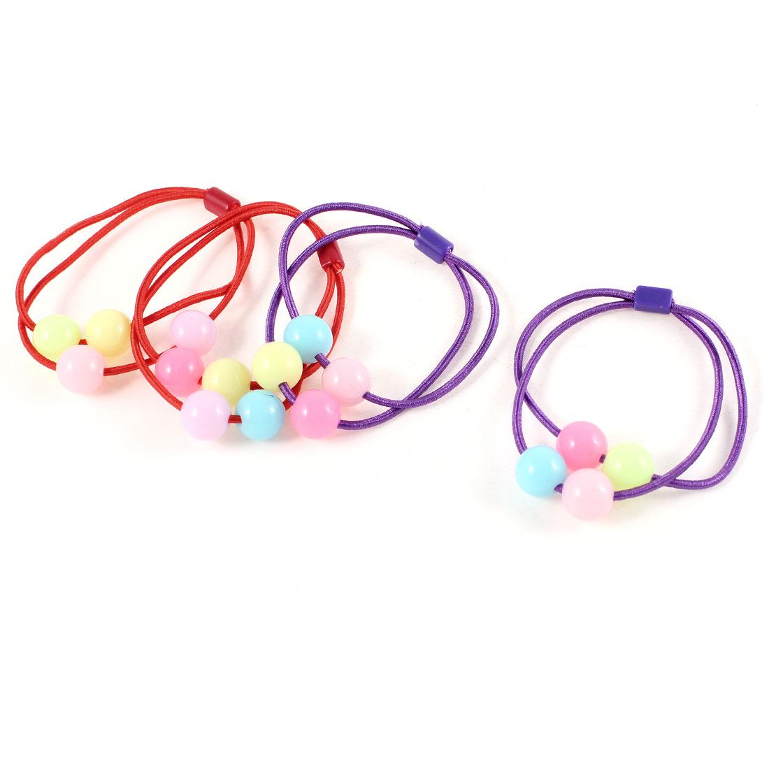 Multicolor Plastic Beads Detail Elastic Ponytail Holder Hair Tie Purple Red 2 Pair