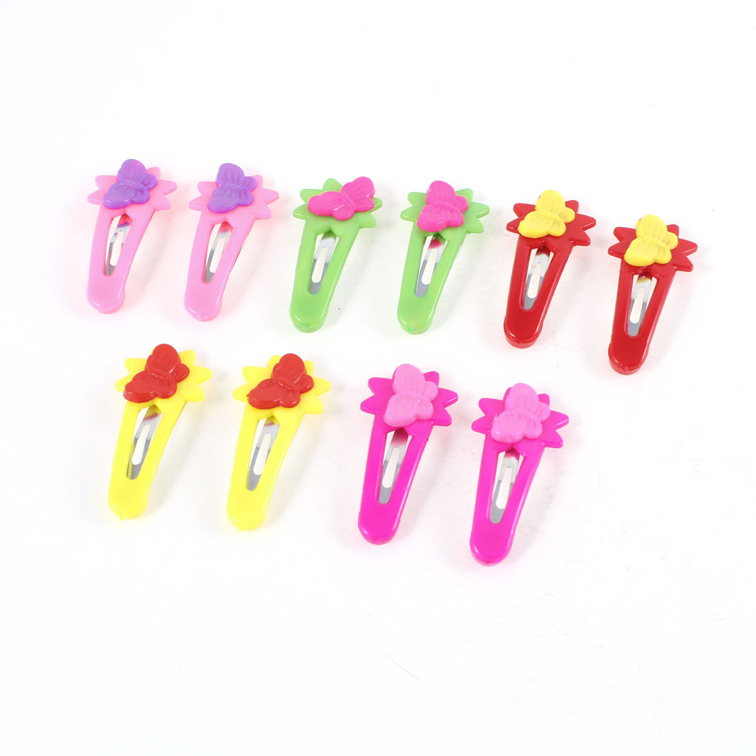 Red Yellow Green Butterfly Flower Decor Mini Bow Prong Hairclips Barrettes 5 Pair