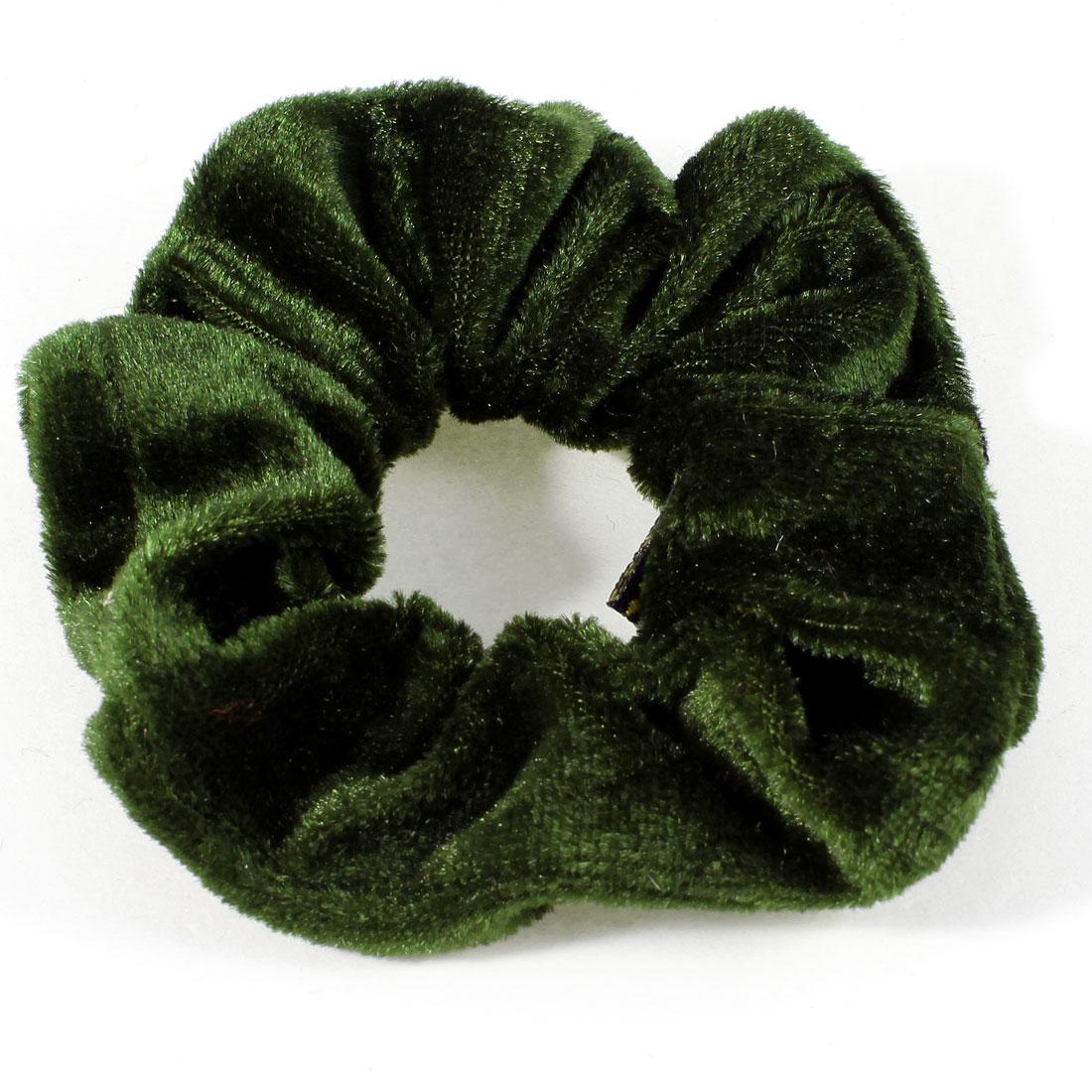 Women Olive Green Velvet Wrap Stretchy Ponytail Holder Hair Band