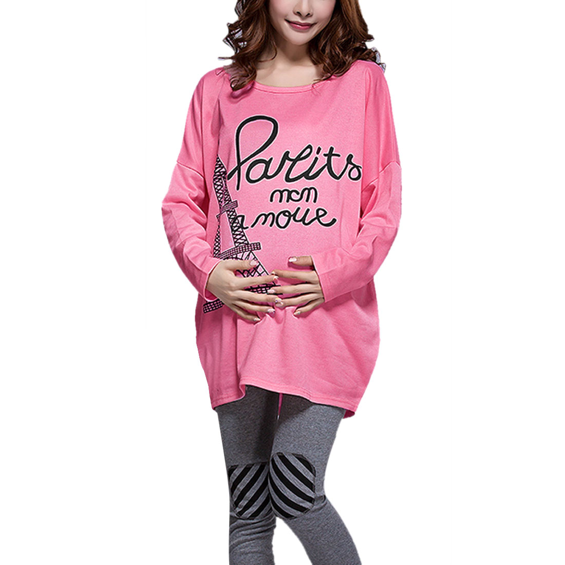 Pregnant Women Batwing Sleeve Letters Iron Tower Top Shirt Pink M