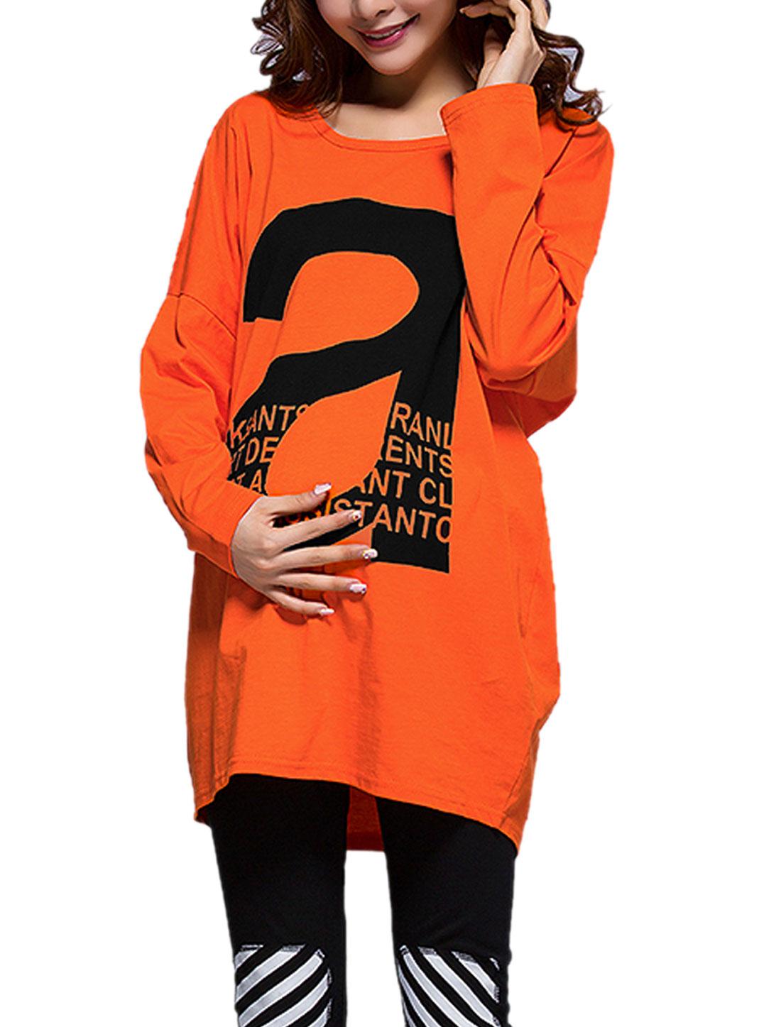 Matherhood Batwing Sleeve Letter Prints Tunic Shirt Orange M