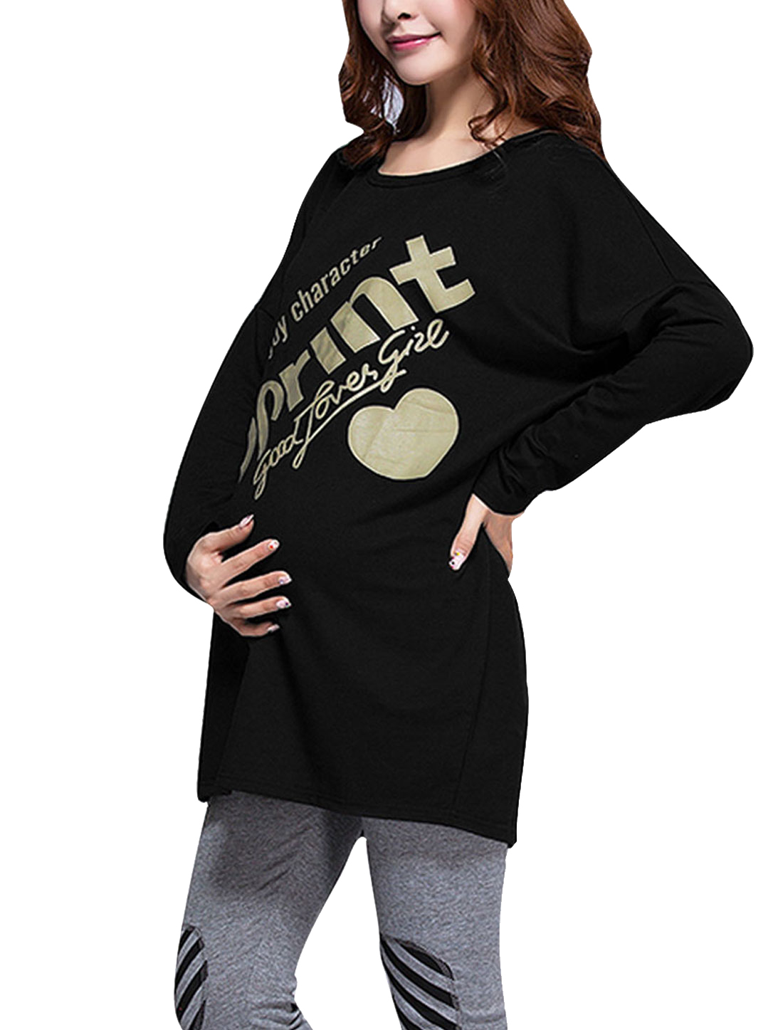 Motherhood XL Black Batwing Sleeve Design Round Neck Tunic Shirt