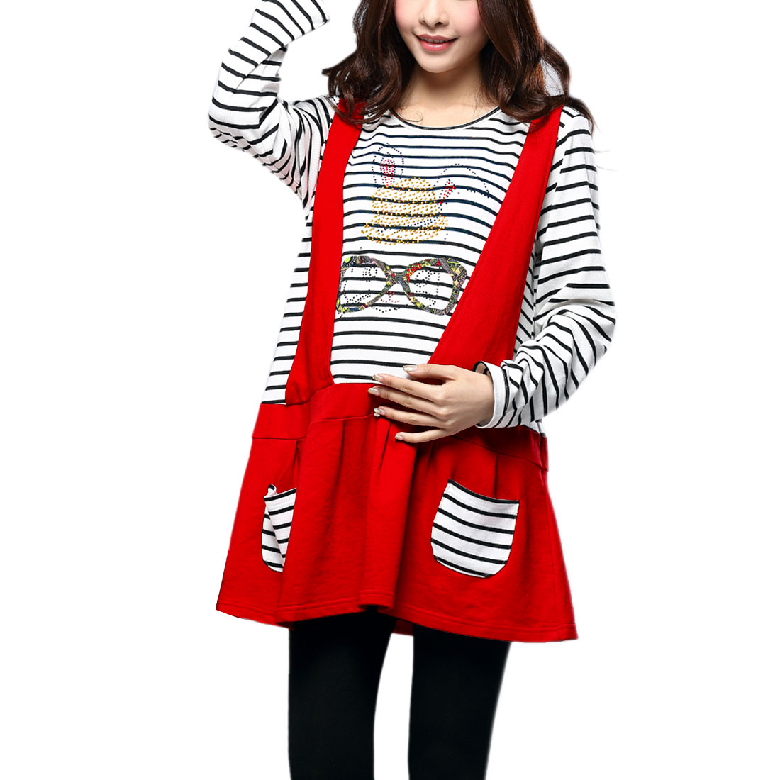 Maternity Pullover Long Sleeve Panel Stripes Dress White Red S