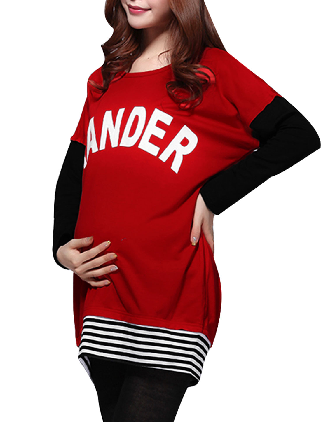 Motherhood Red XL Round Neck Batwing Sleeve Design Letters Print Tunic Shirt