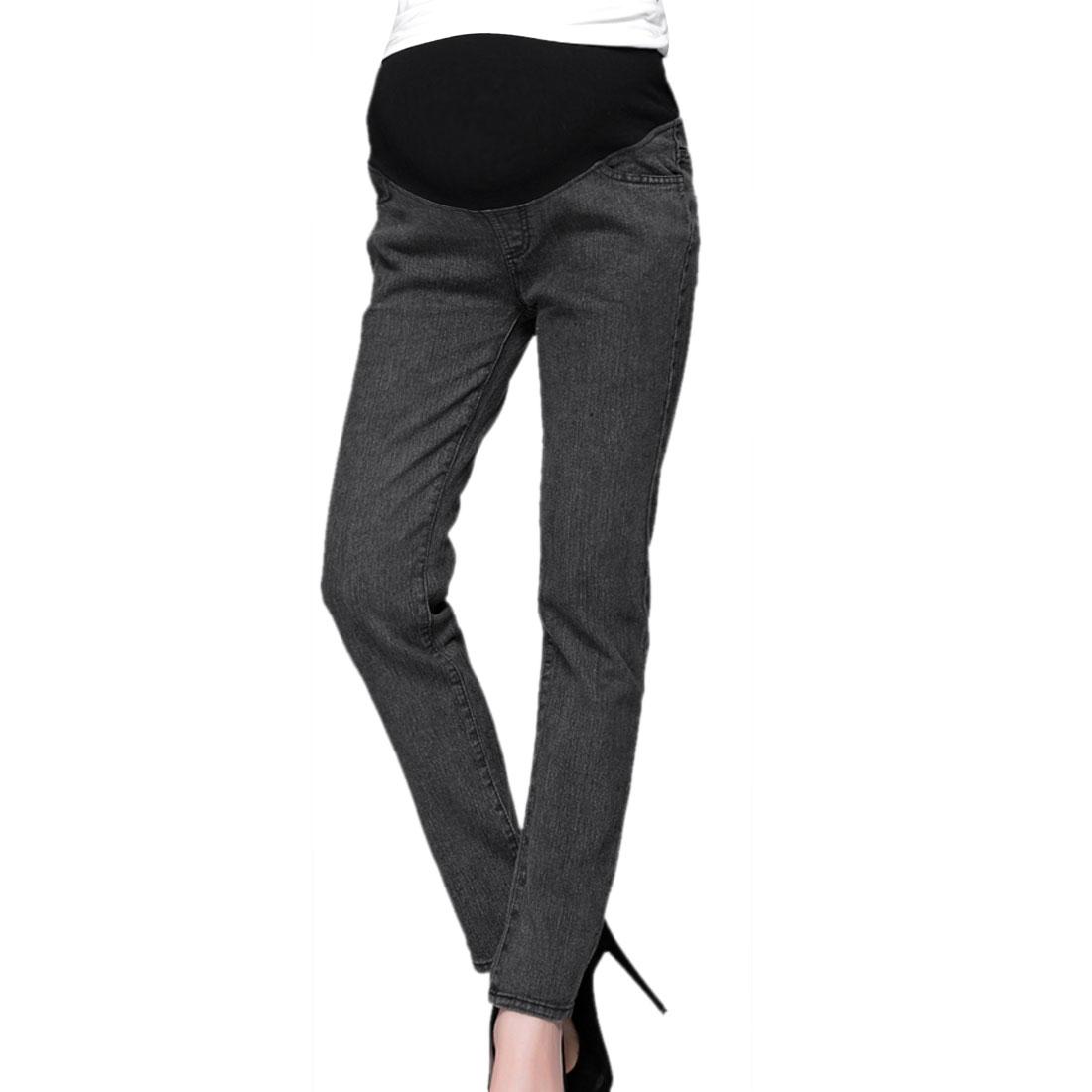 Maternity Stretchy Waist Panel Hip Pockets Pants Dark Gray S