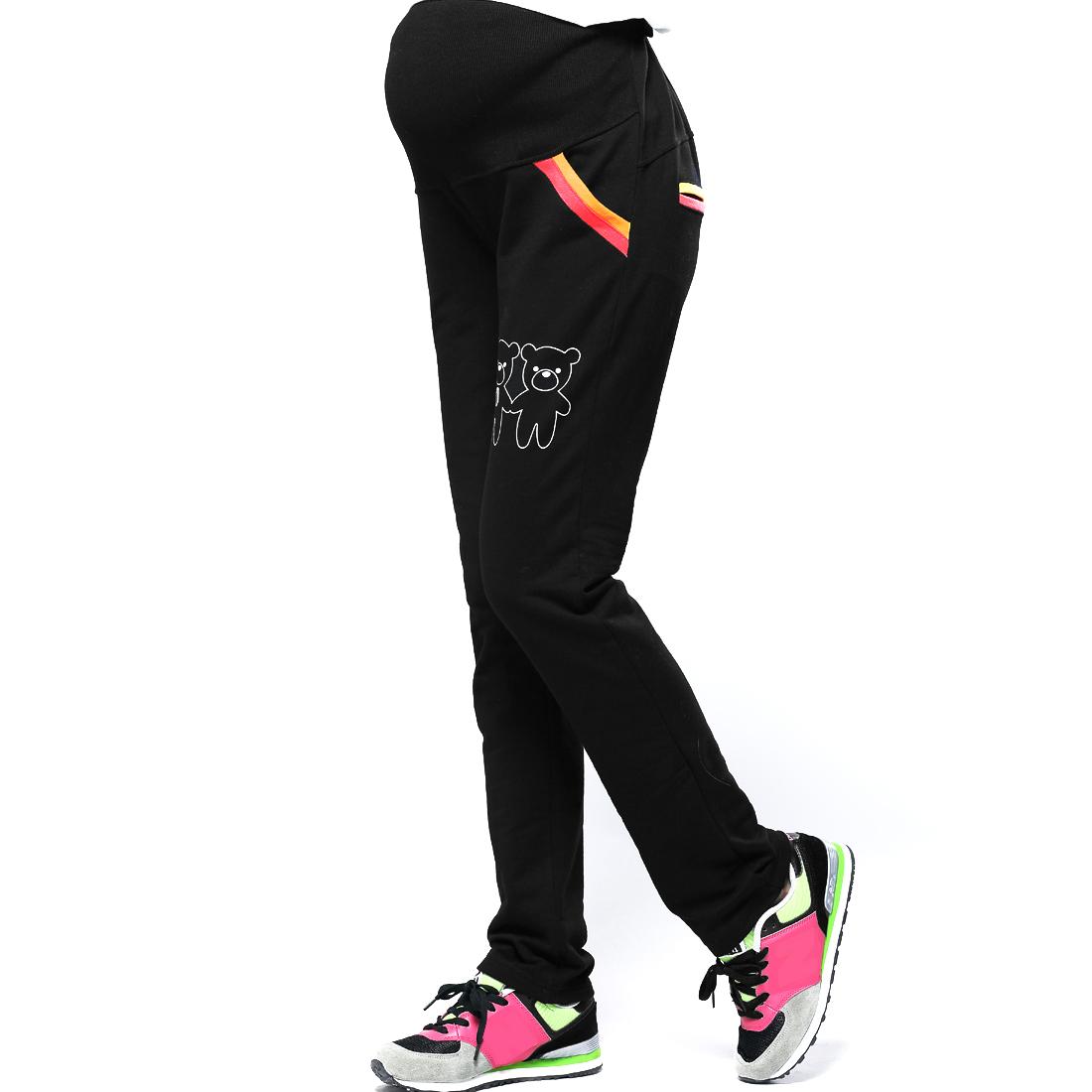 Matherhood Elastic Waist Pockets Cartoon Bear Pants Black XS