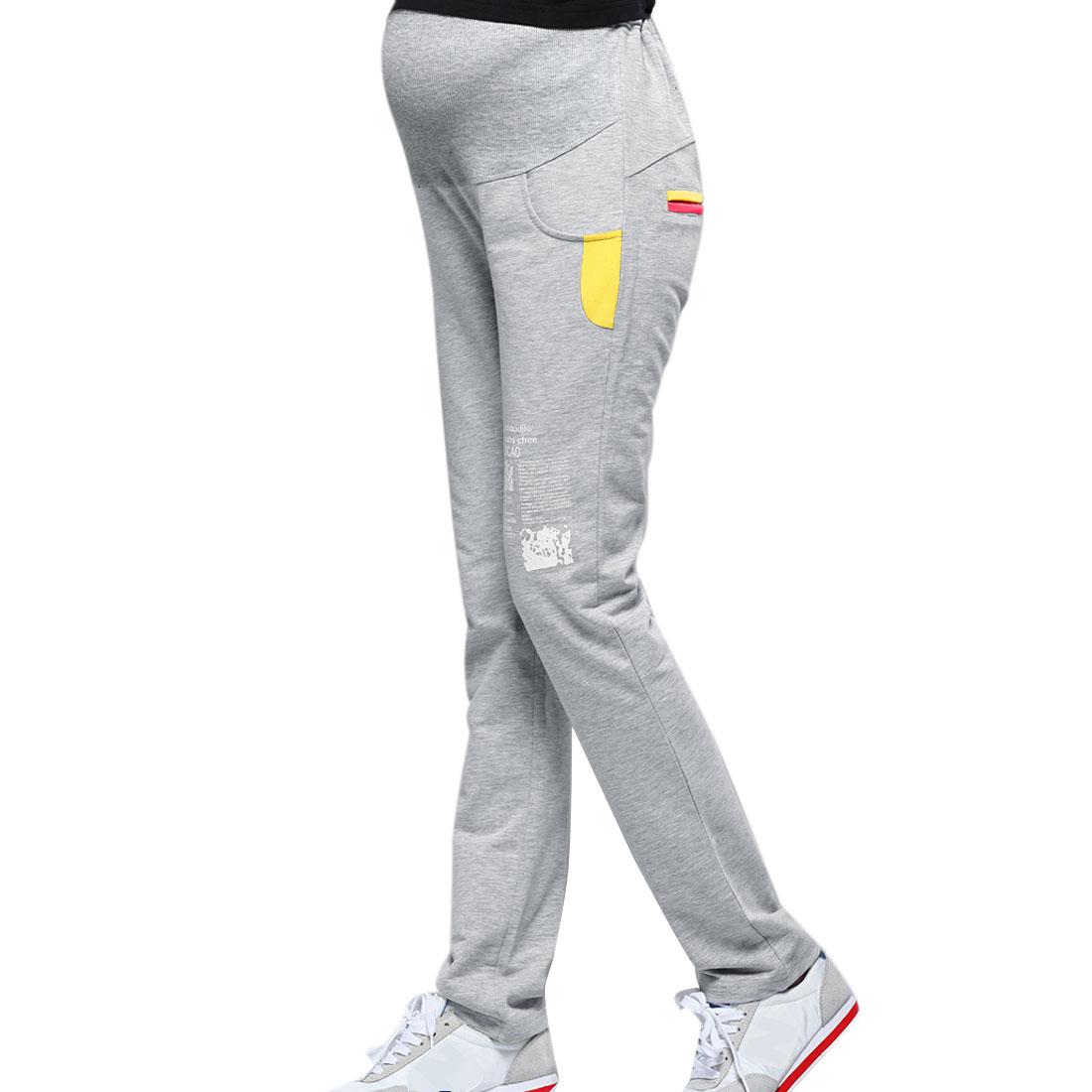 Matherhood Elastic Waist Pockets Letter Prints Pants Light Gray XS