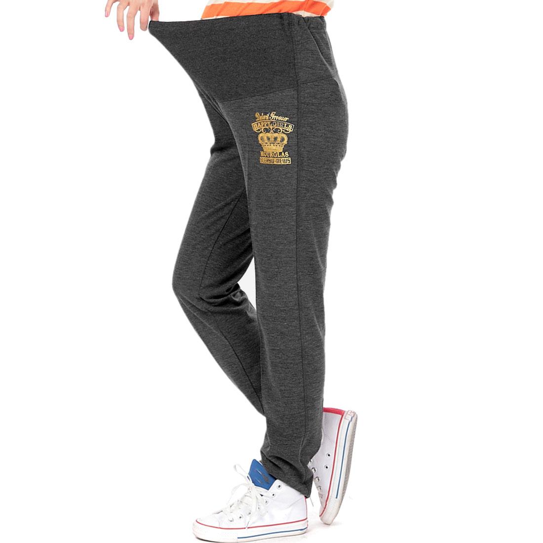 Matherhood Stretchy Waist Letters Crown Pattern Pants Gray XS