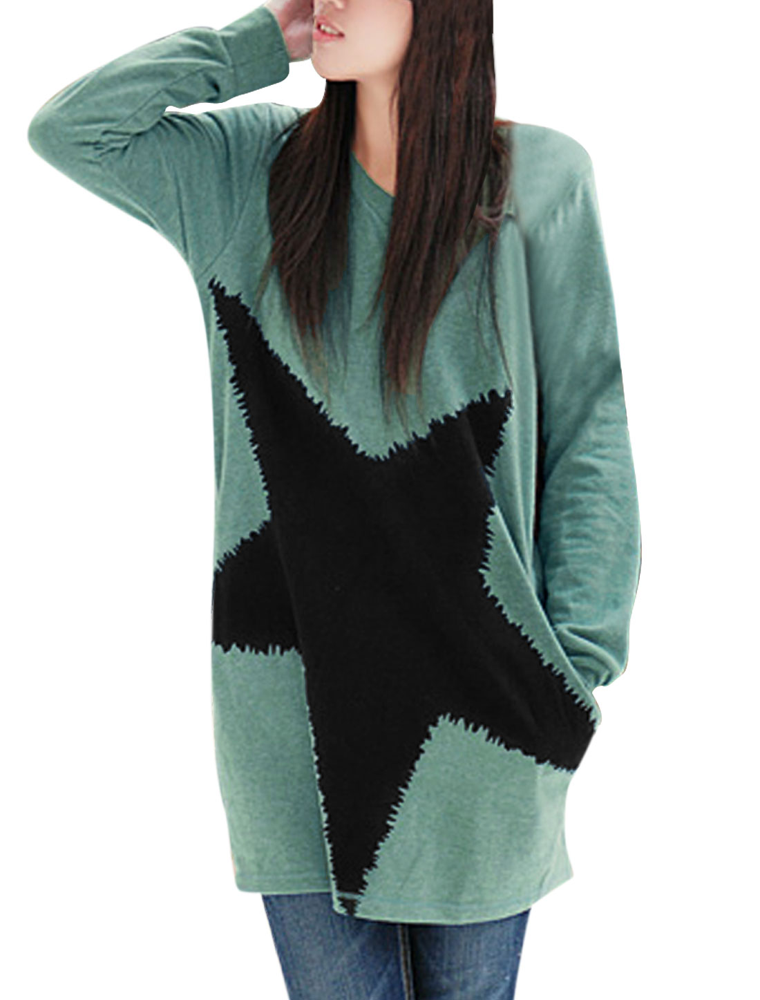 Matherhood V Neck Pullover Long Sleeve Star Pattern Tops Turquoise M
