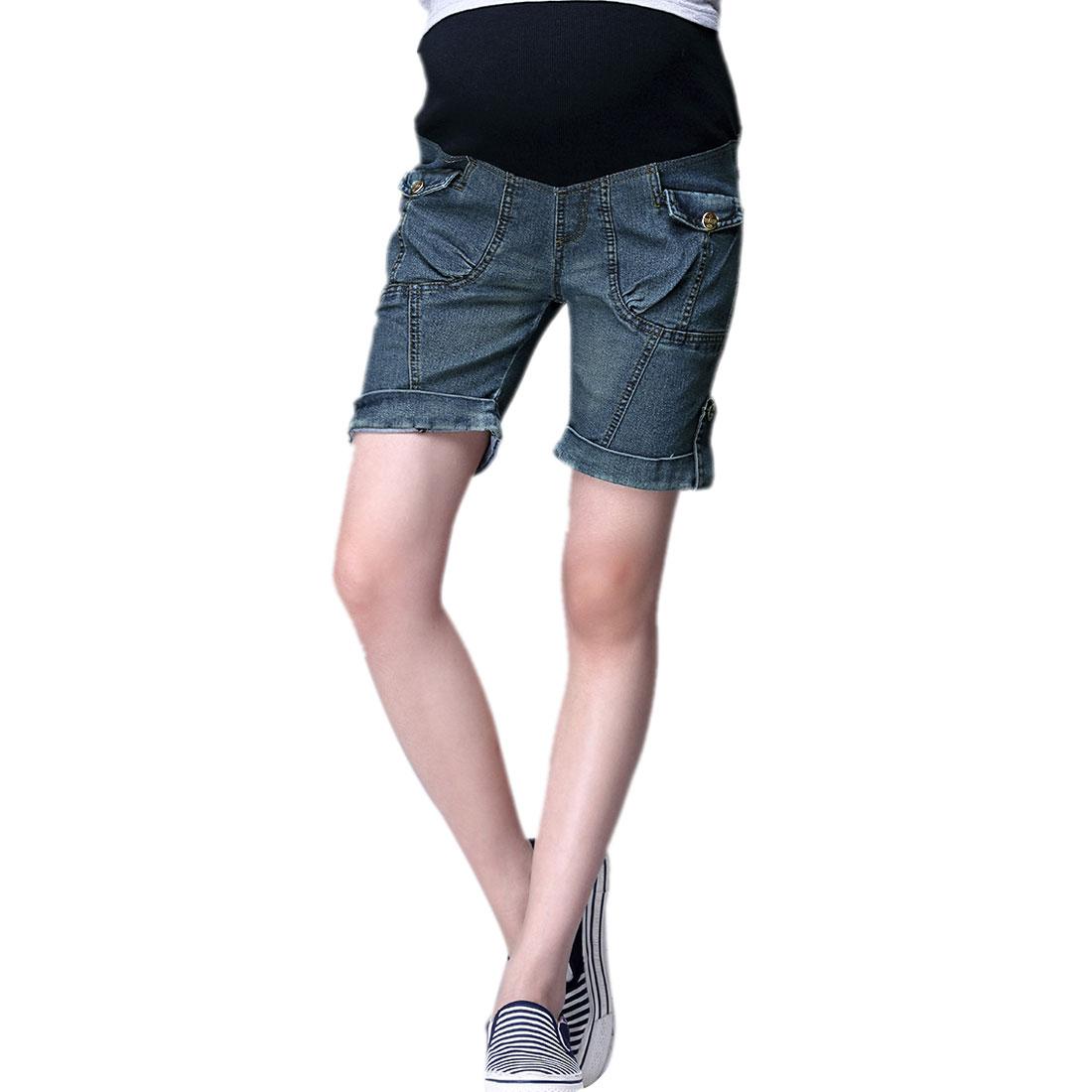 Pregnant Women Elastic Waist Big Pockets Panel Shorts Blue XS