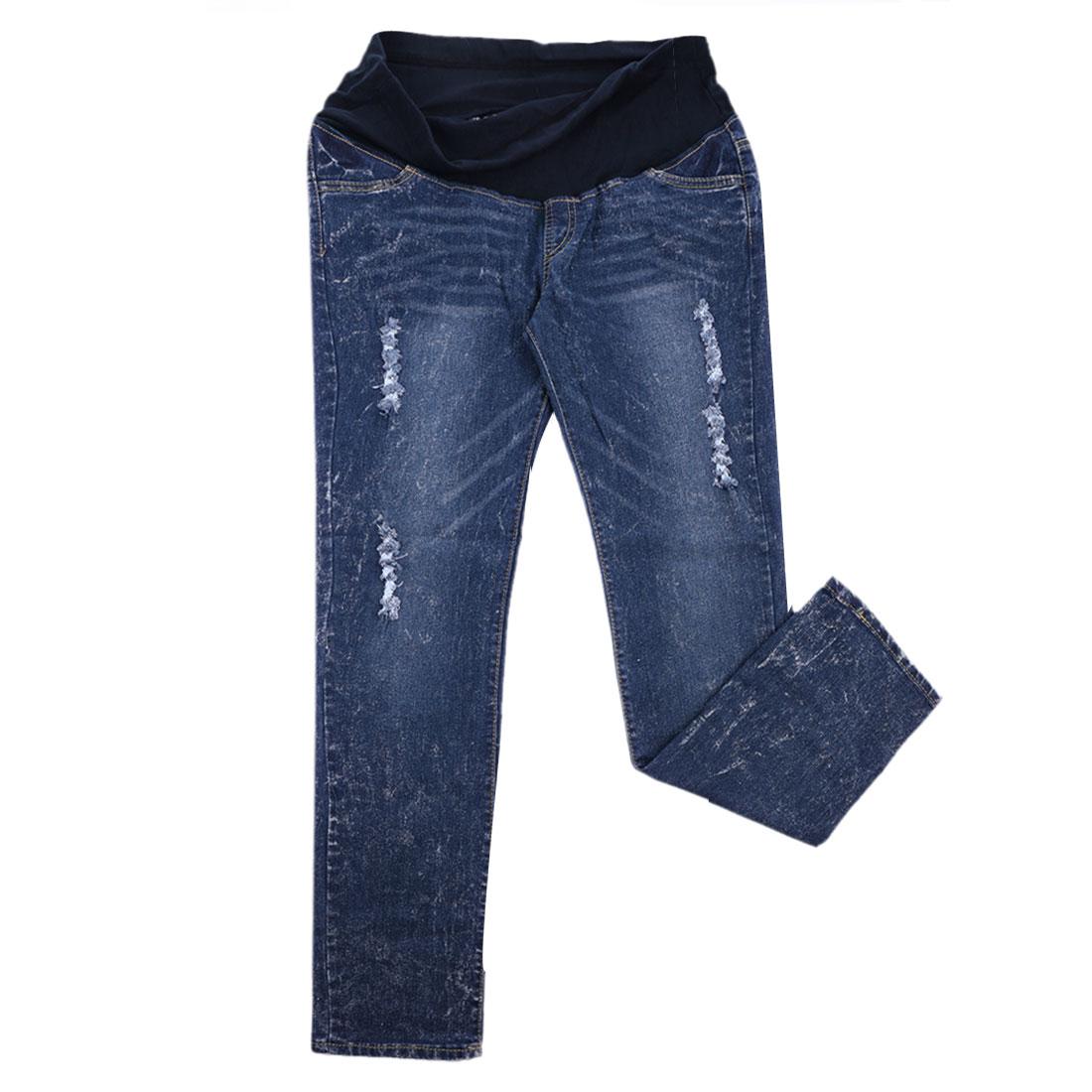 Matherhood Stretchy Waist Pockets Destroyed Detail Pants Dark Blue S
