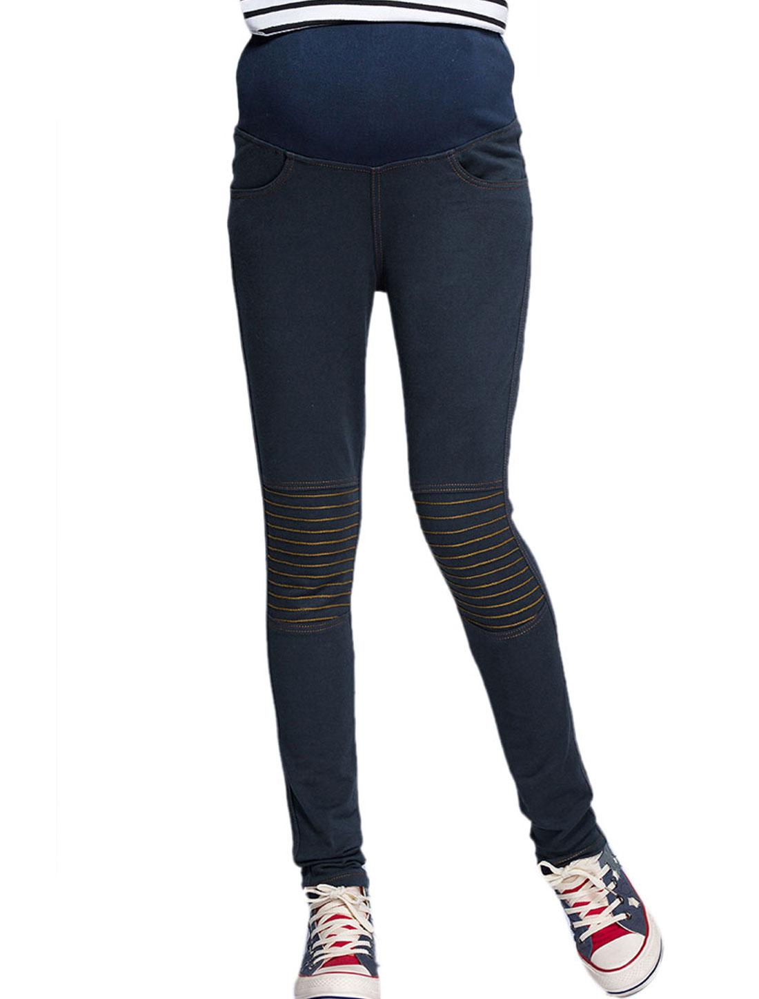 Maternity Elastic Waist Warm Fashion Pants Navy Blue XS