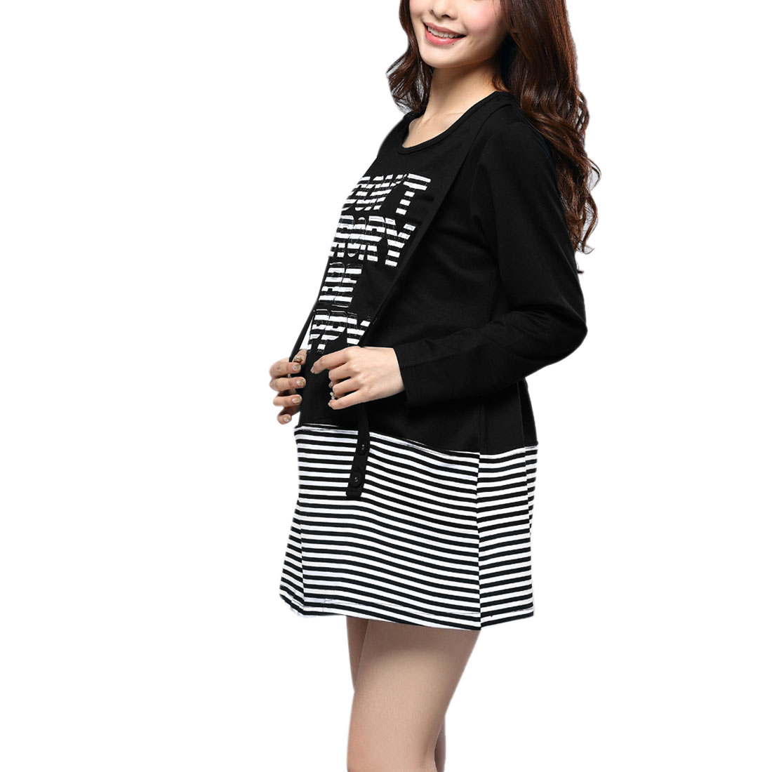 Matherhood Pullover Long Sleeve Stripes Letters Dress Black White S
