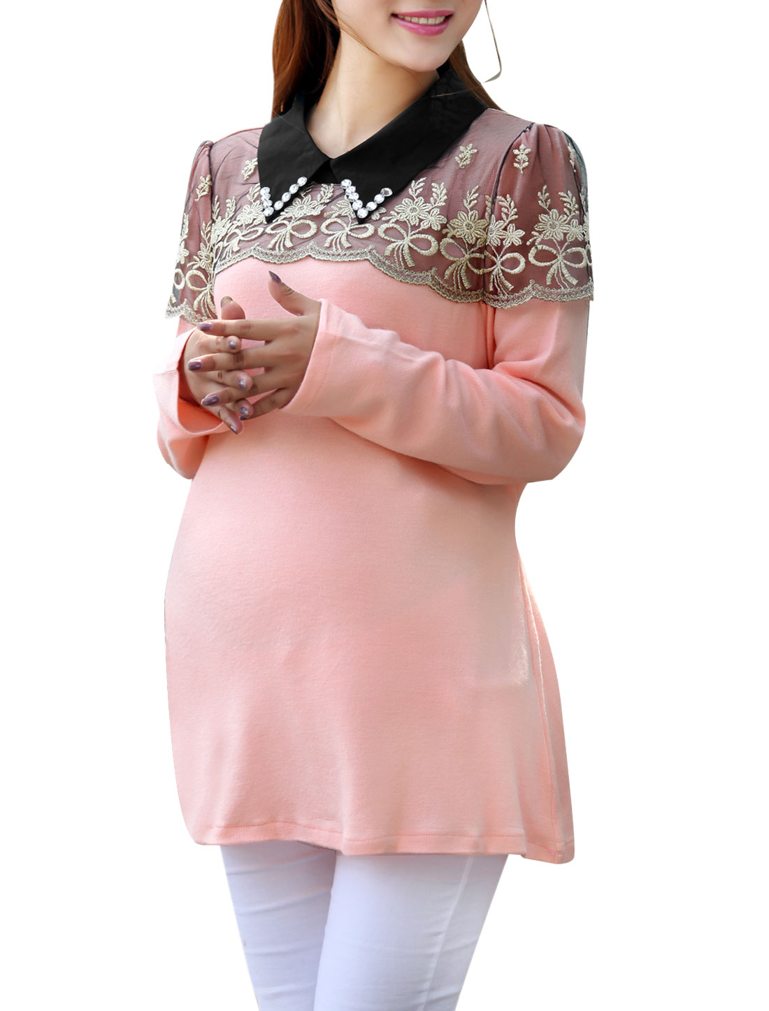 Matherhood Doll Collar Long Sleeve Crochet Knit Top Pink L