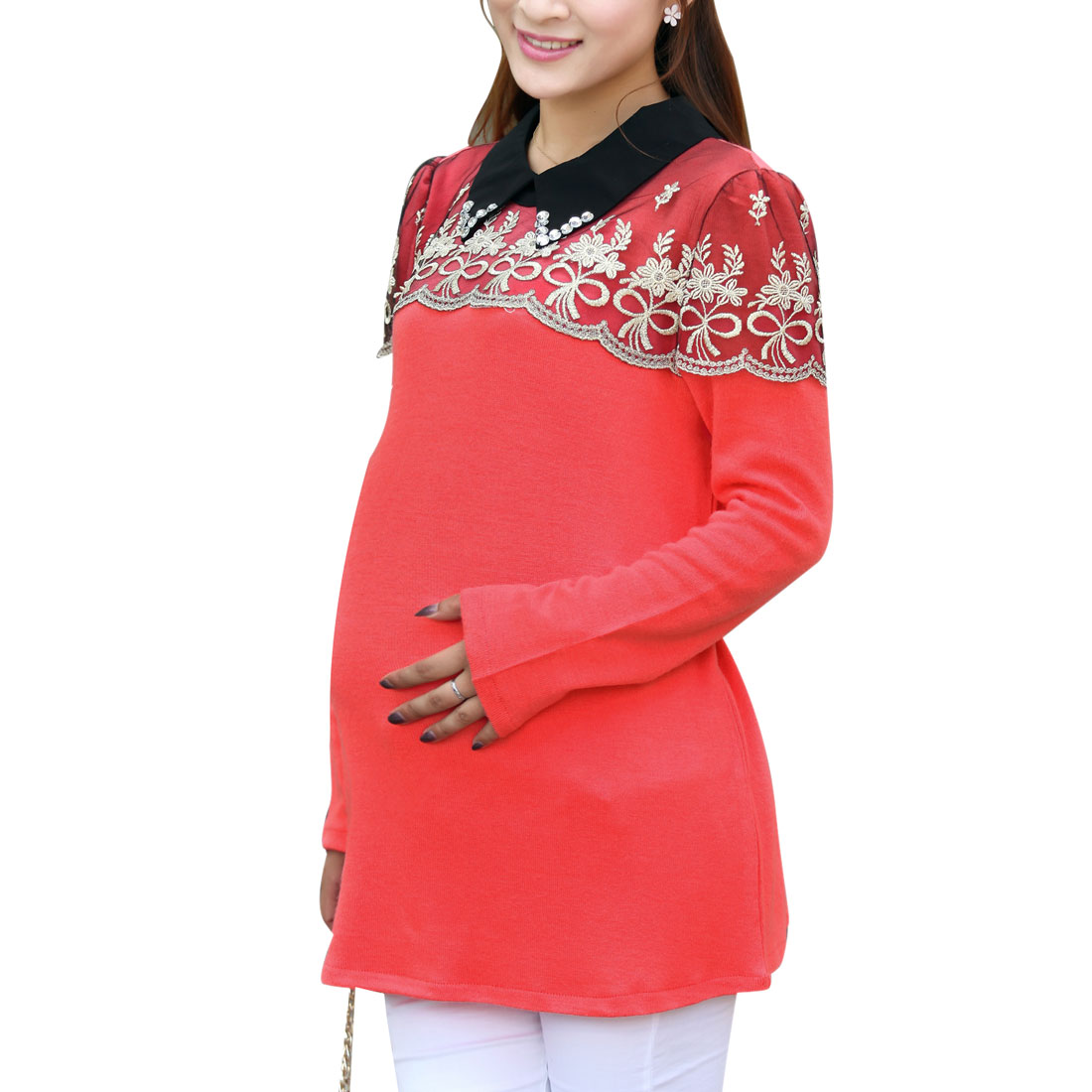 Pregnant Women Doll Collar Pullover Belt Knit Top Red L