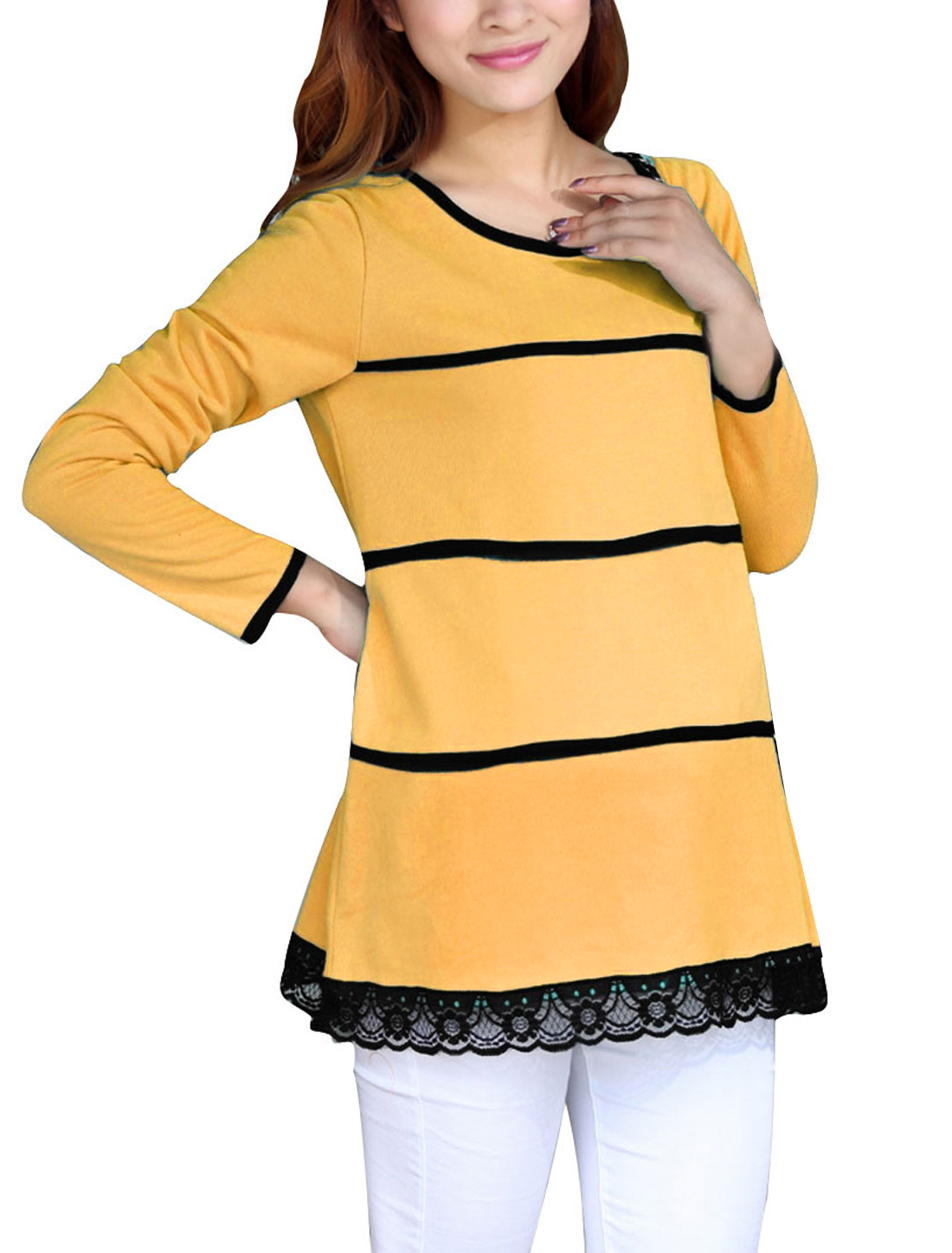 Pregnant Women Long Sleeve Lace Hem Knitwear Yellow S