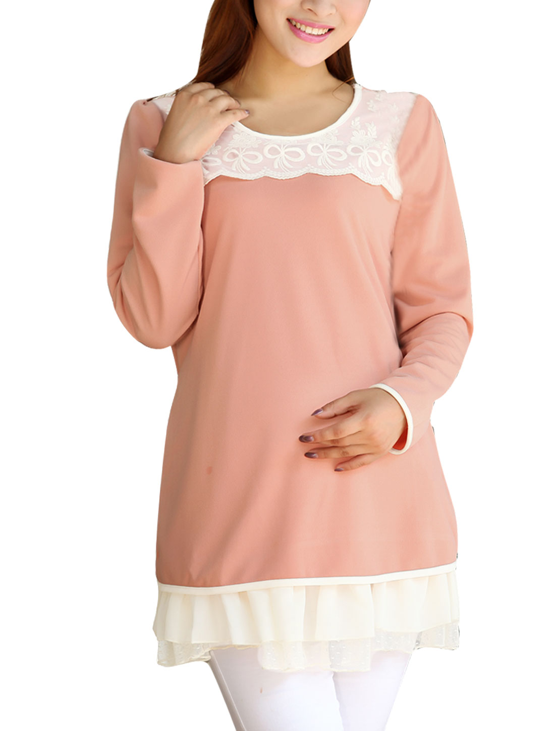 Pregnant Women Pullover Crochet Detail Top Shirt Pink M