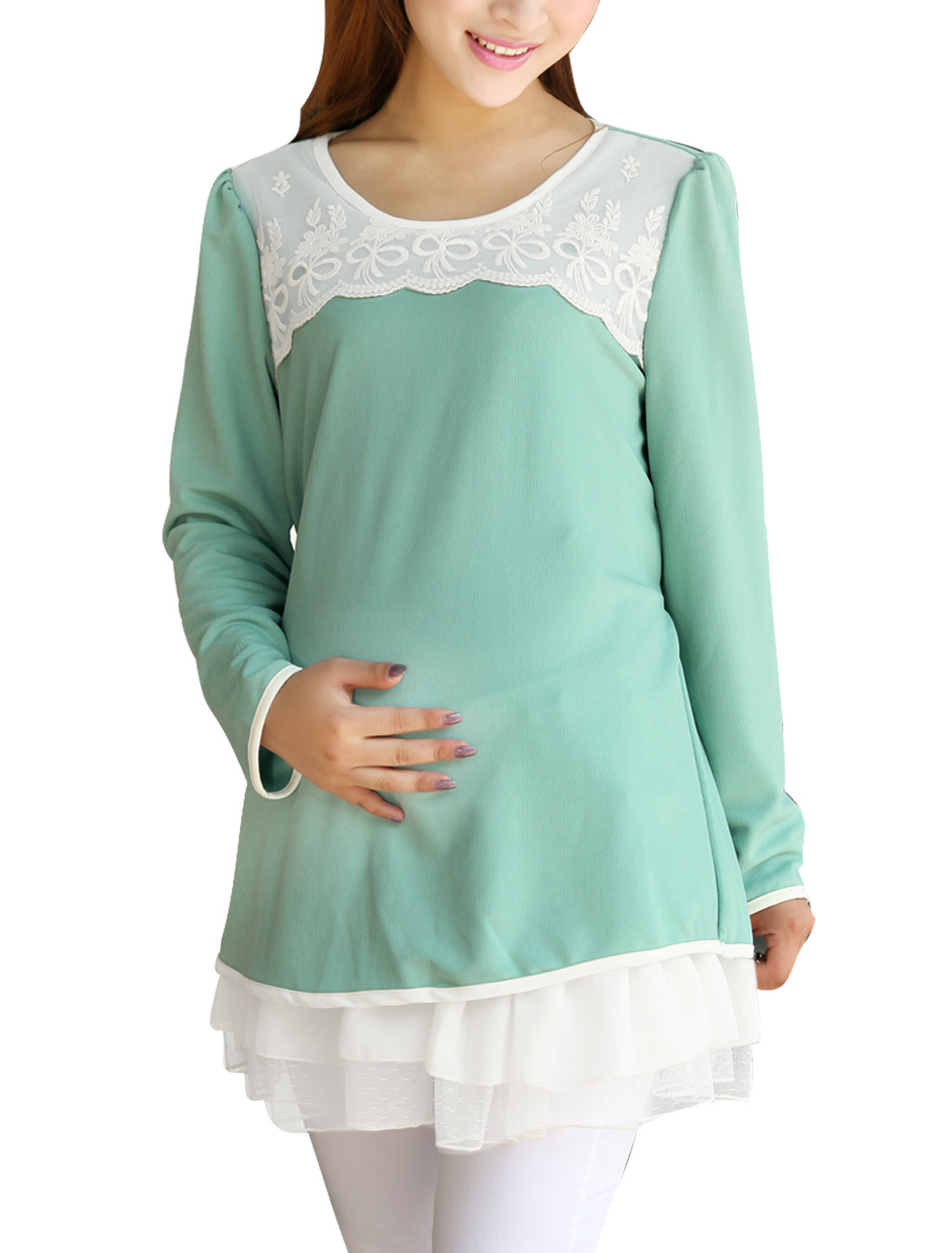 Motherhood Long Sleeve Self Tie Belt Top Shirt Aqua M