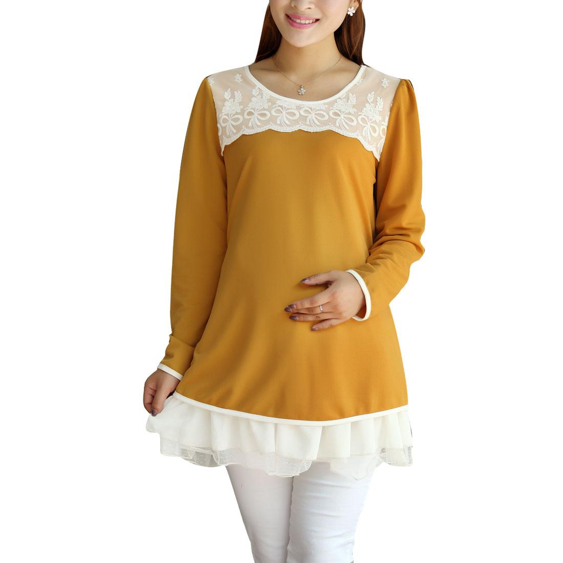 Maternity Long Sleeve Flouncing Hem Top Shirt Orange M