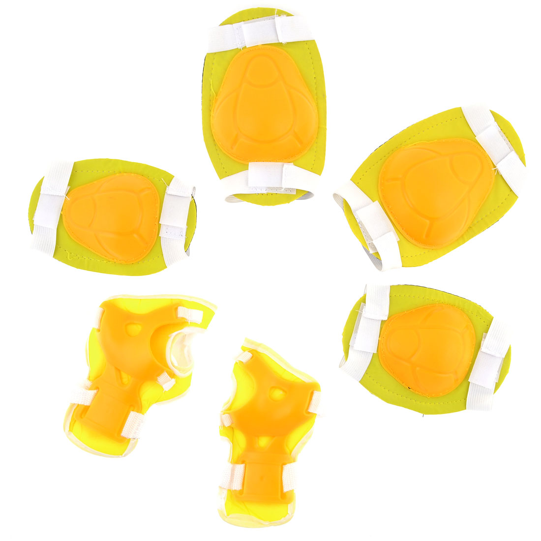 Child Adjustable Hook Loop Fastener Knee Elbow Palm Support Set Yellow White