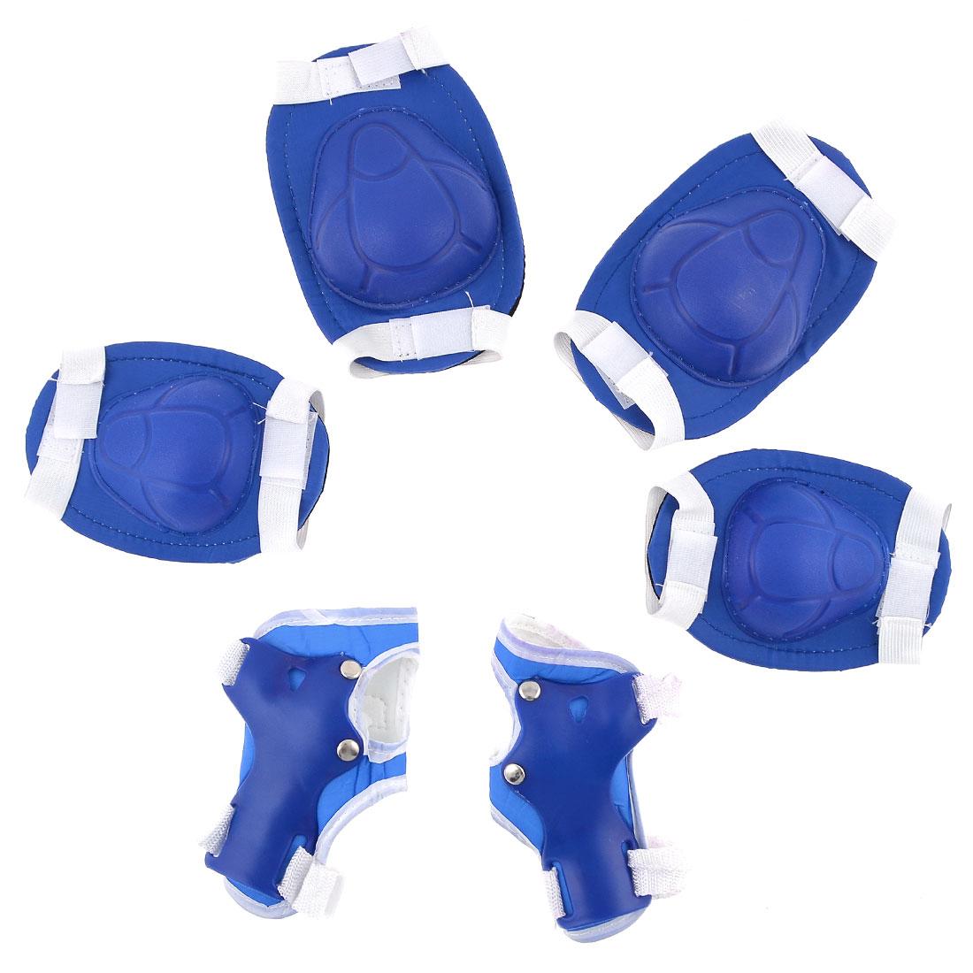 Child Adjustable Hook Loop Fastener Knee Elbow Palm Support Set Blue White
