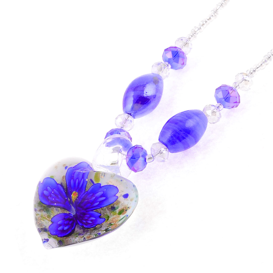 Lady Woman Clear Plastic Bead Glass Floral Heart Pendant Screw Clasp Necklace