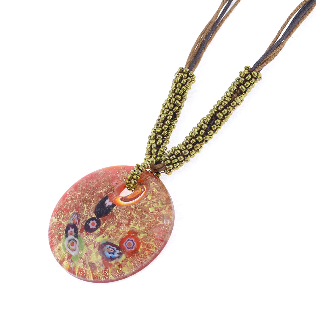 Glitter Powder Gold Tone Round Glass Pendant Adjustable Necklace for Lady Woman