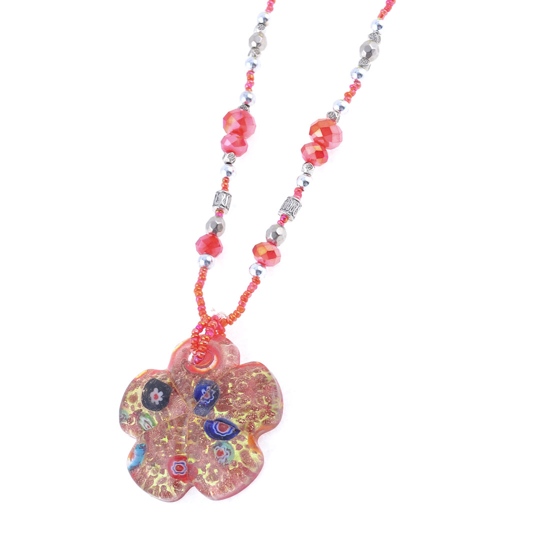 Glitter Powder Gold Tone Floral Glass Pendant Adjustable Necklace for Lady Woman