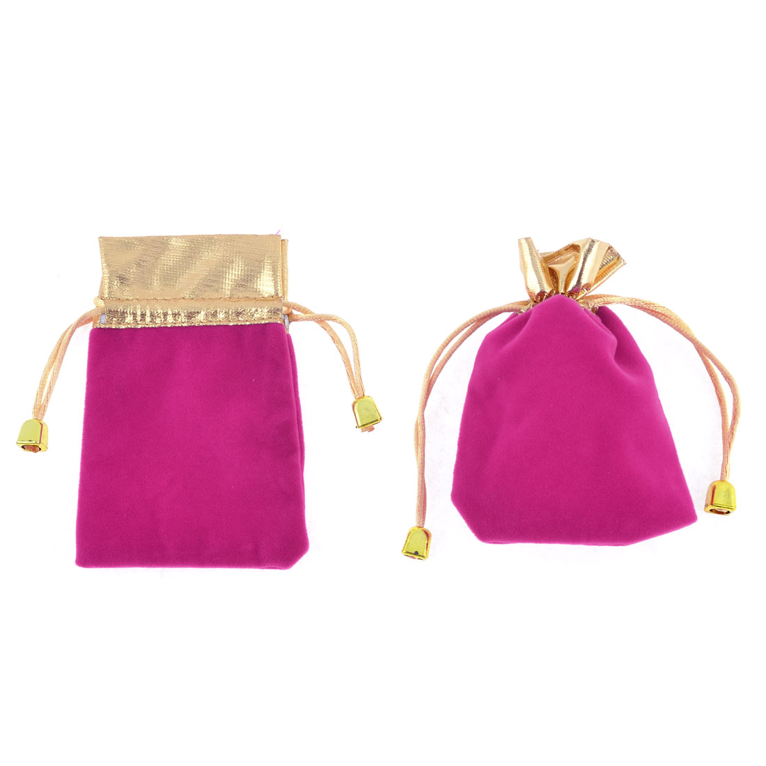 2 Pcs Fuchsia Velvet Vertical Pull String Bag Pouch for Cellphone MP3