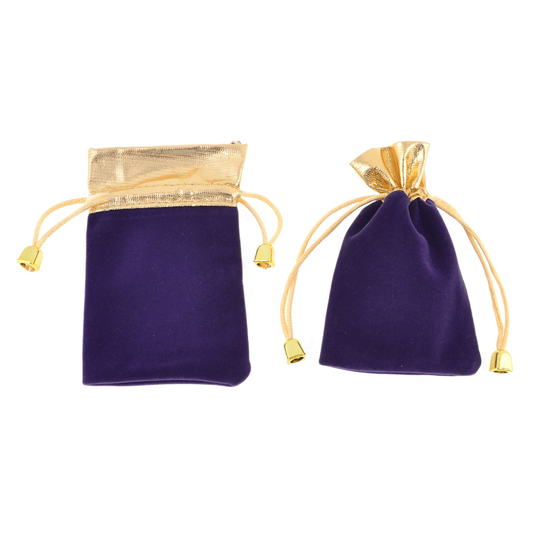 2 Pcs Purple Velvet Vertical Pull String Bag Pouch for Cell Phone MP3