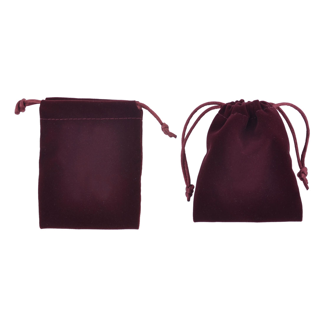 2 Pcs Pull String Closured Burgundy Protective MP4 Keys Bag Pouch