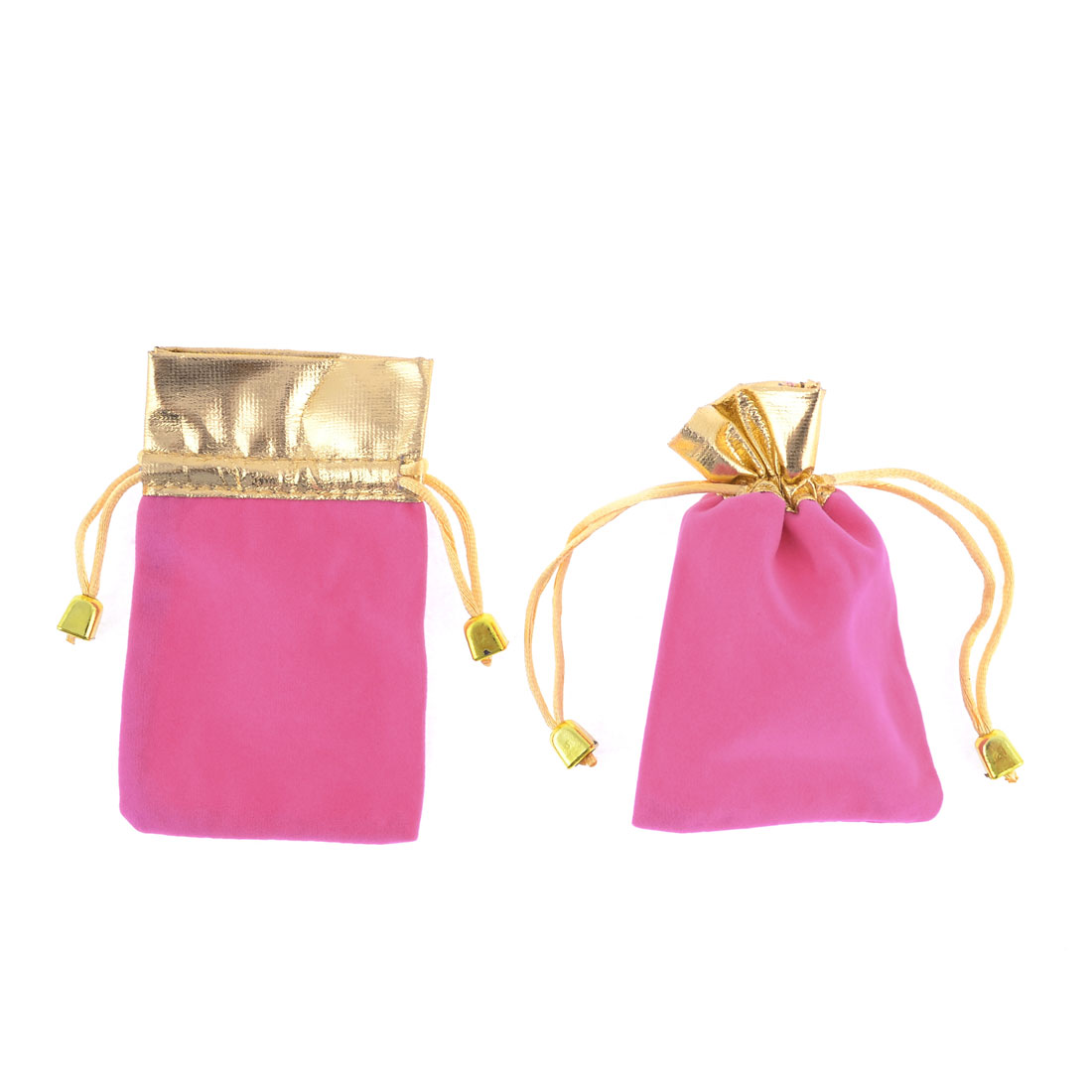 2 Pcs Pink Velvet Vertical Pull String Bag Pouch for Cell Phone MP3