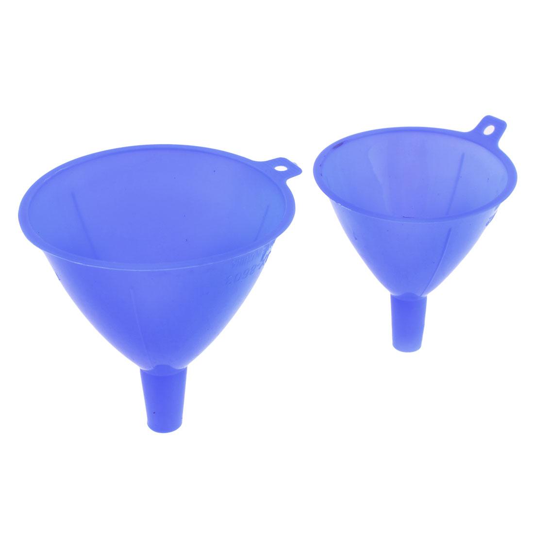"3.7"" 3.1"" Dia Blue Plastic Liquid Pouring Filter Funnel 2 Pcs"