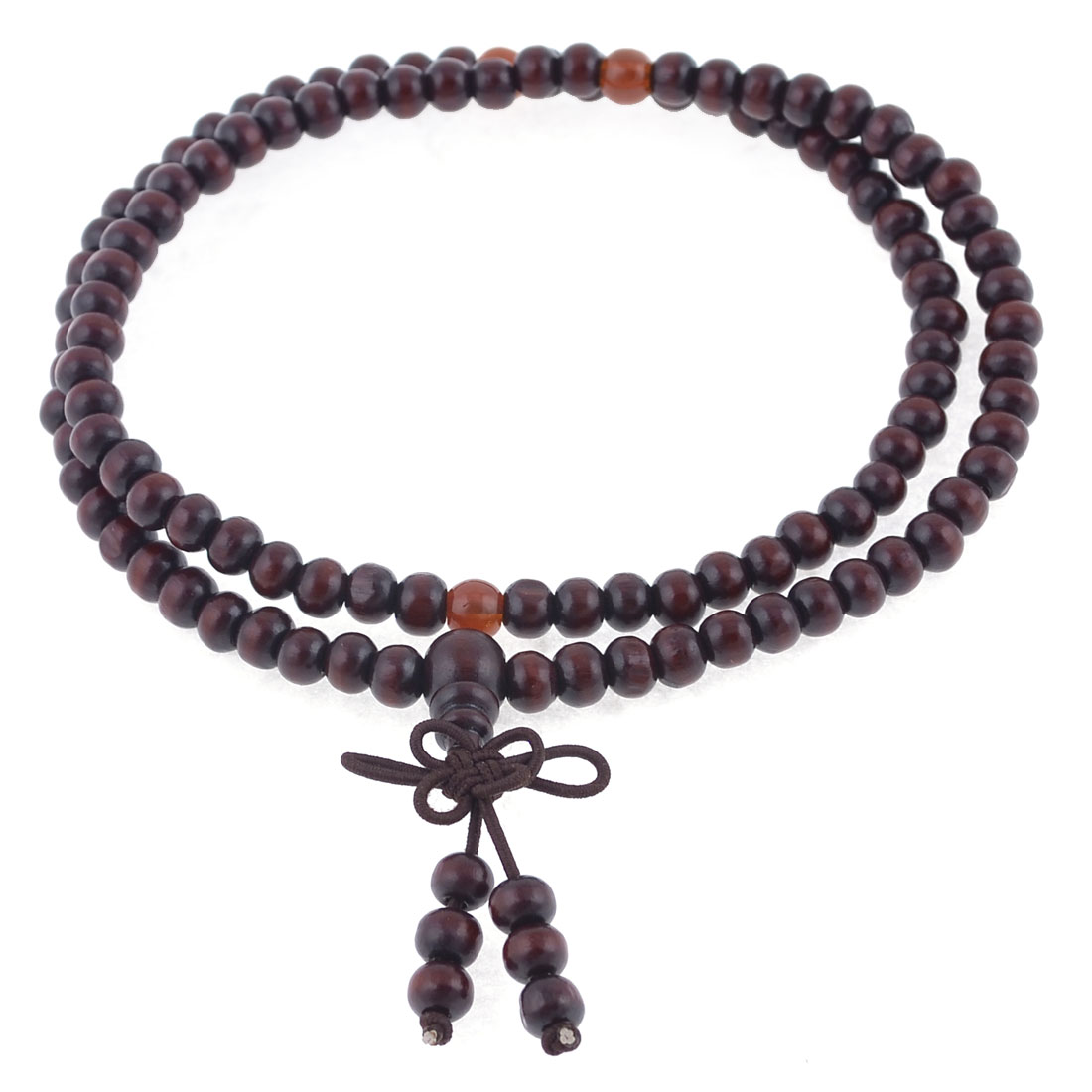 Stretch Strap 6mm Dia Beads Sandalwood Buddhist Prayer Necklace Burgundy