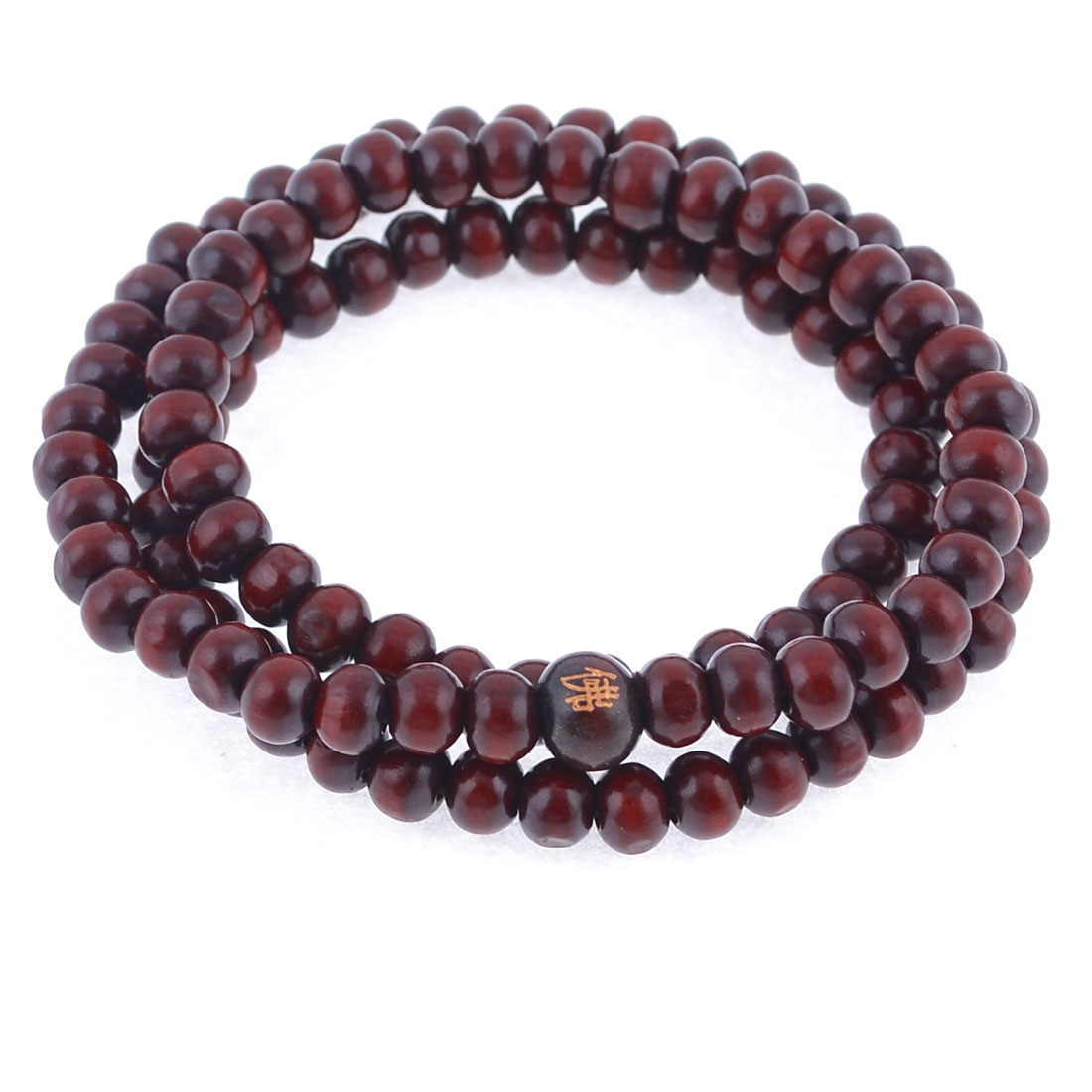 Stretch Strap 6mm Dia Beads Sandalwood Buddhist Prayer Necklace Red