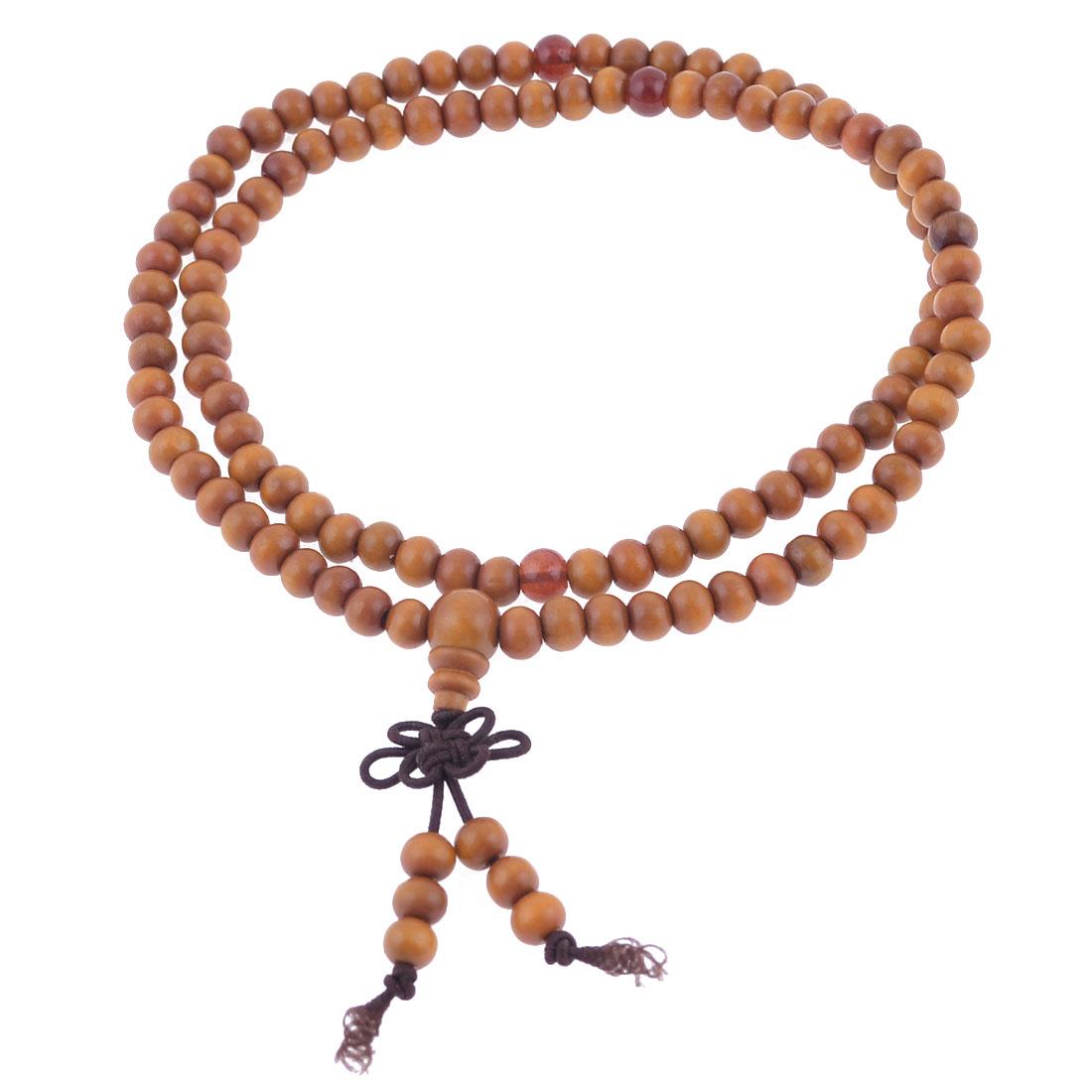 Stretch Strap 6mm Diameter Beads Sandalwood Buddhist Prayer Necklace Orange