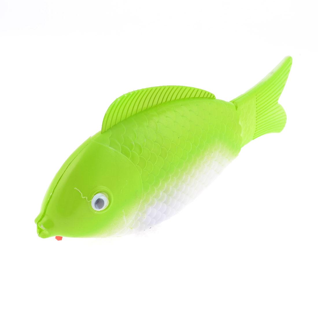 Kids Gift White Green Plastic Body Three Wheels Walking Fish Toy